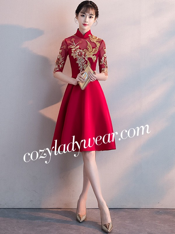 0dde1cca22f Fit   Flare Embroidered Qipao   Cheongsam Cocktail Dress - CozyLadyWear