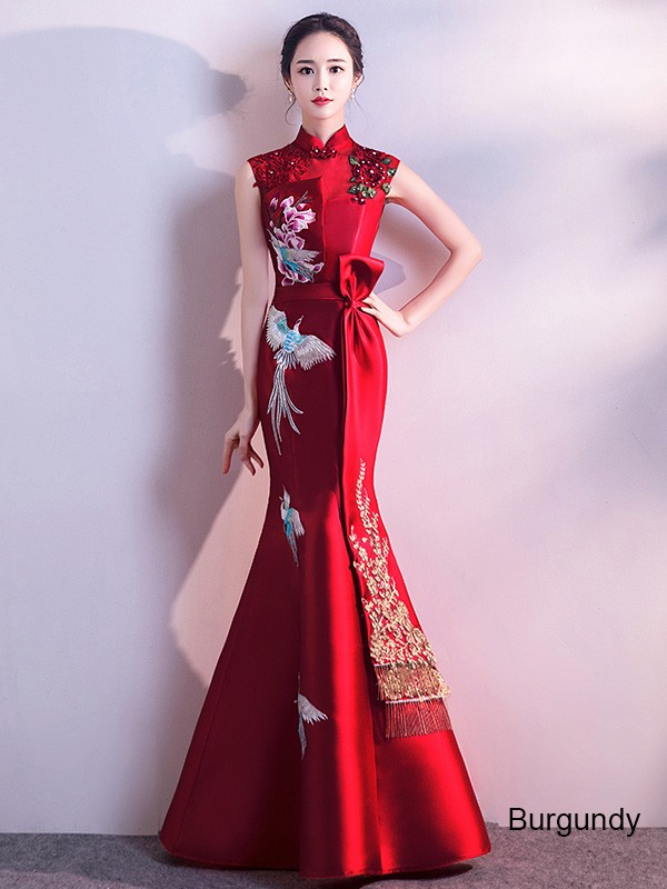 Embroidered Fishtail Qipao / Cheongsam Wedding Dress with Cutout Back