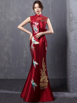 Wine Red Embroidered Fishtail Qipao / Cheongsam Evening Dress