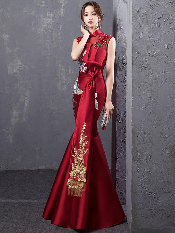 Wine Red Embroidered Fishtail Qipao / Cheongsam Evening Dress