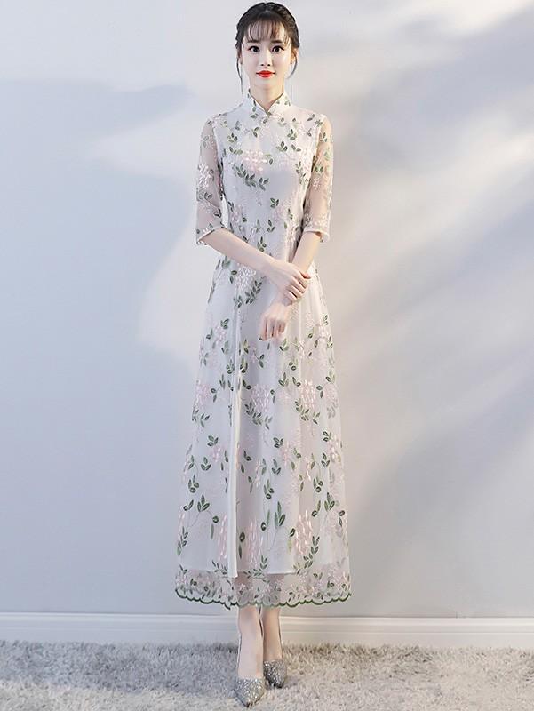 fc975a567 Maxi Embroidered Modern Qipao / Cheongsam Dress - CozyLadyWear