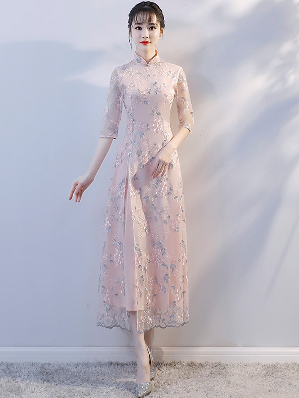 Maxi Embroidered Modern Qipao / Cheongsam Dress