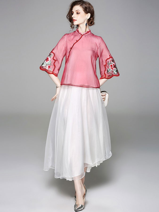 Embroidered Qipao / Cheongsam Blouse in Organza