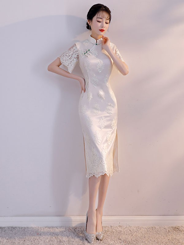 eb5311b07 White Lace Qipao Cheongsam white lace mid qipao cheongsam part dress with  bell