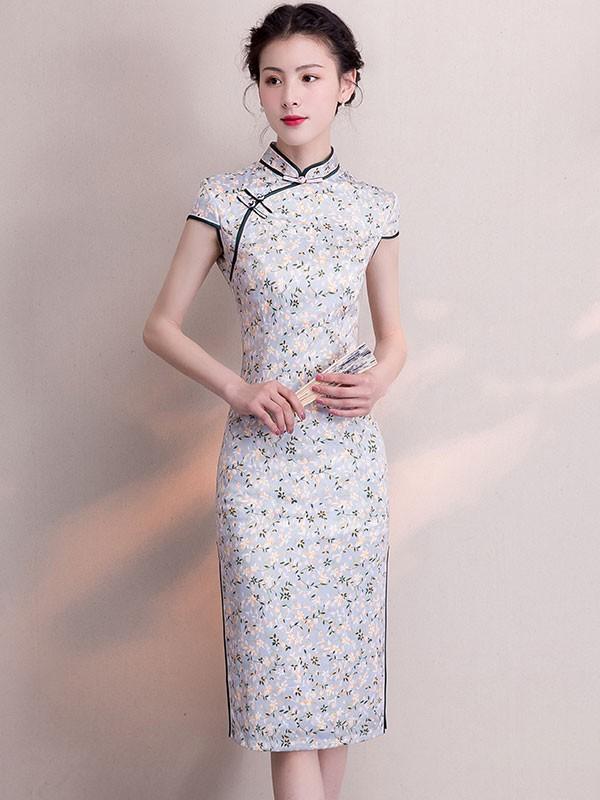 Gray Floral Casual Midi Qipao / Cheongsam Dress