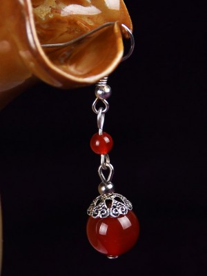 Silver Red Agate Drop Earrings, Clip On Non Pierced Dangle Earrings