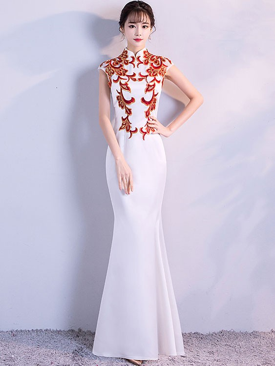 3e341bf0b67f4 White Fishtail Qipao / Cheongsam Evening Dress with Red Embroidery. Loading  zoom