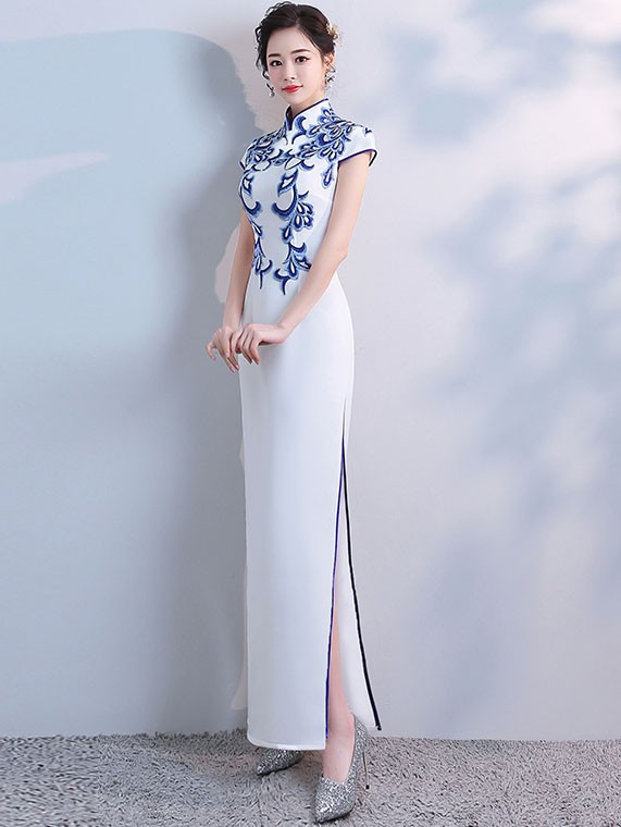 White Split Qipao / Cheongsam Evening Dress with Blue Embroidery