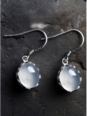 White Chalcedony Earrings, Silver Drop Dangle Earrings