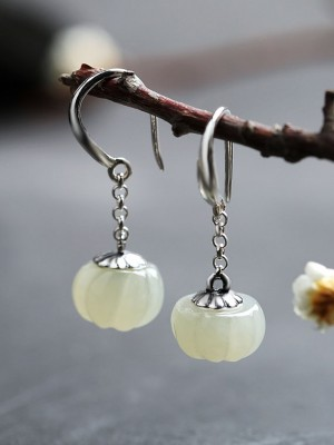 White Jade Earrings, Silver Dangle Drop Earrings