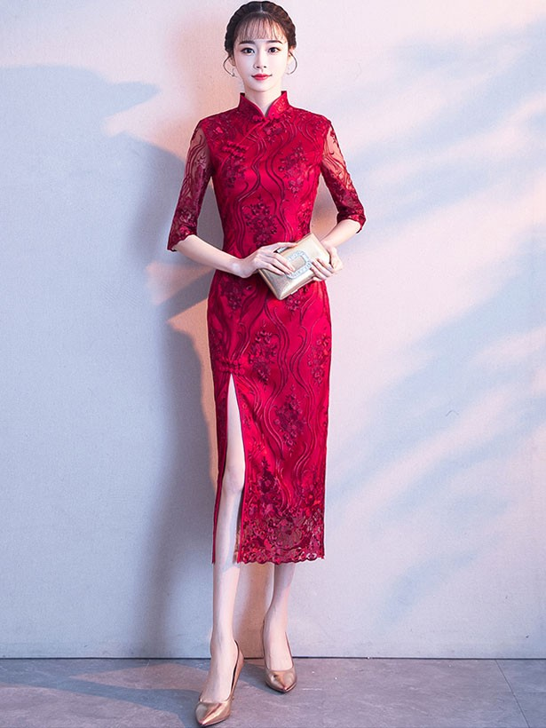 Embroidered Split Qipao / Cheongsam Evening Dress