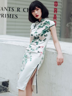 White Floral-Print Midi Qipao / Cheongsam Dress