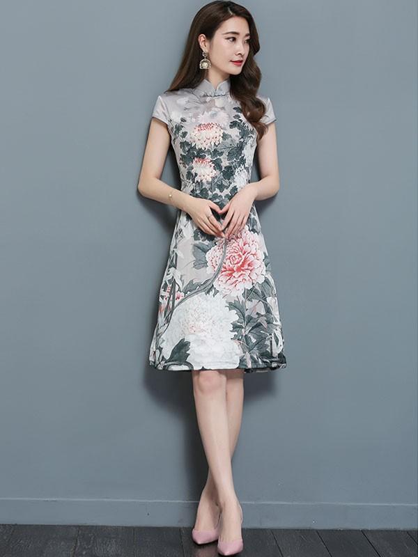 A-Line Bloom Printed Midi Qipao / Cheongsam Dress