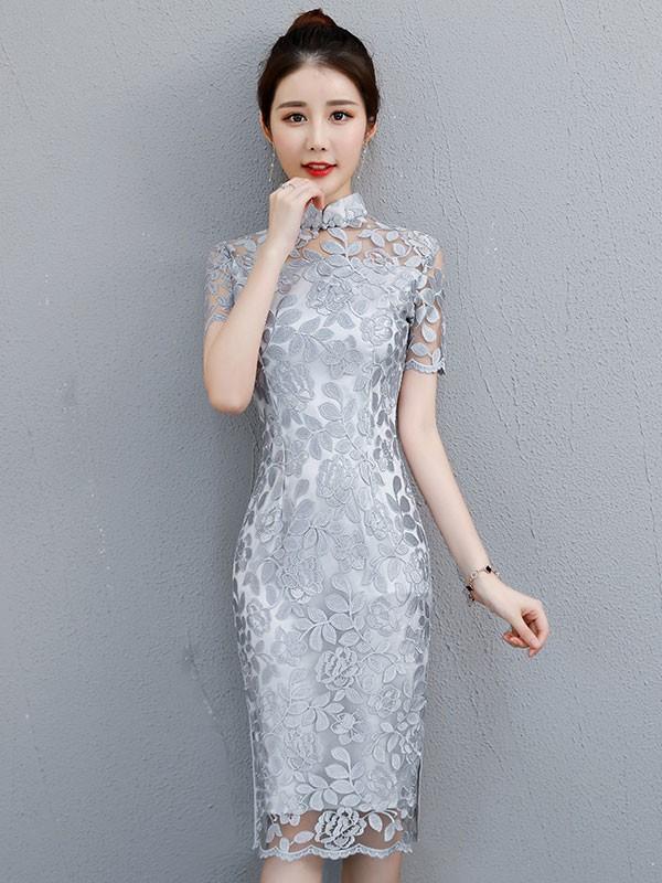 Gray Lace Midi Qipao / Cheongsam Party Dress