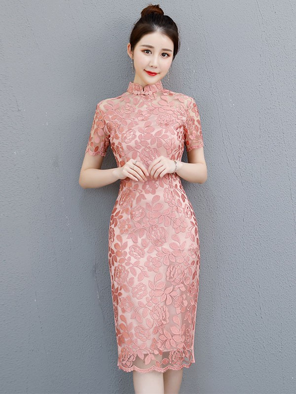 Pink Lace Midi Qipao / Cheongsam Evening Dress