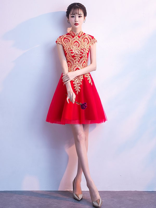 Tulle A-Line Qipao / Cheongsam Cocktail Dress with Golden Appliques