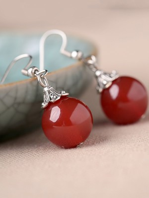 Red Agate Dangle Drop Earrings, Non Pierced Earrings