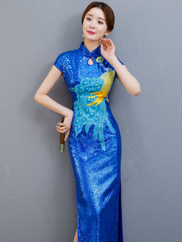 Blue Sequined Long Qipao / Cheongsam Party Dress with Split