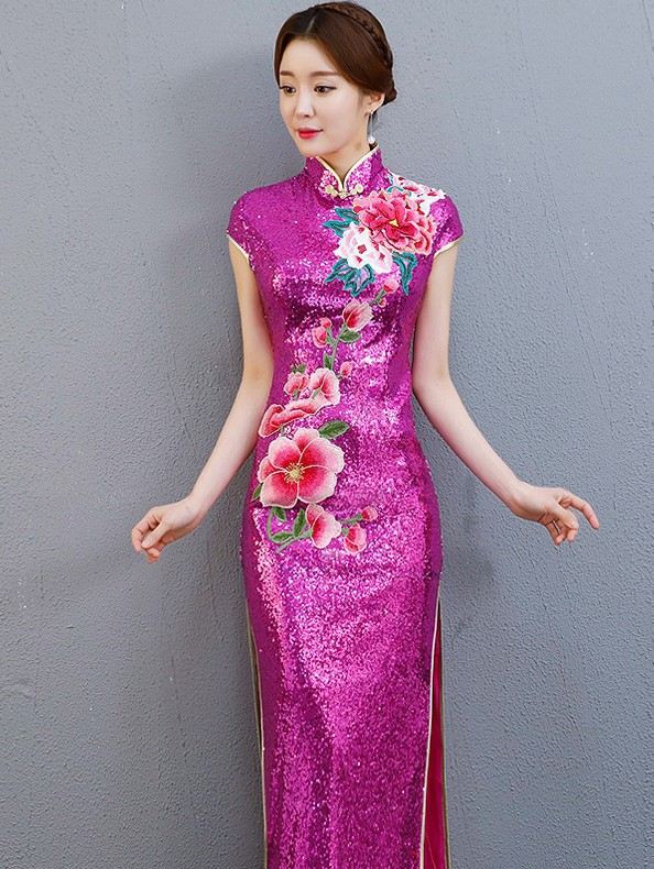 Fuchsia Sequined Long Embroidered Qipao / Cheongsam Party Dress with Split