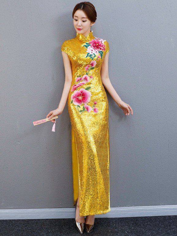 Golden Sequined Long Qipao / Cheongsam Party Dress with Split