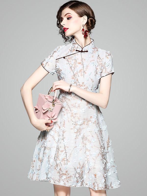 Blue Fit & Flare Appliques Qipao / Cheongsam Dress