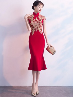 Red Golden Appliques Qipao / Cheongsam Dress with Frill Hem