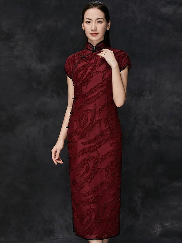 Custom Made Red Qipao / Cheongsam Evening Dress