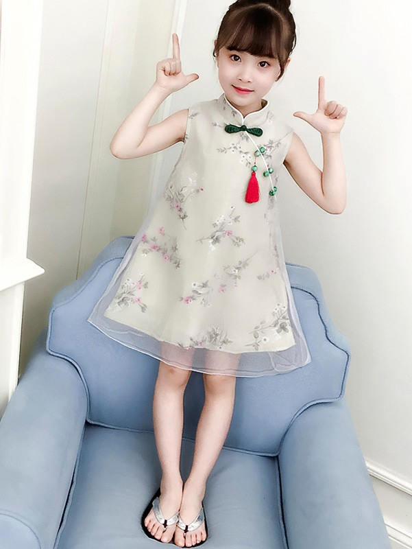 Green Floral Kids Girl Cheongsam / Qipao Dress