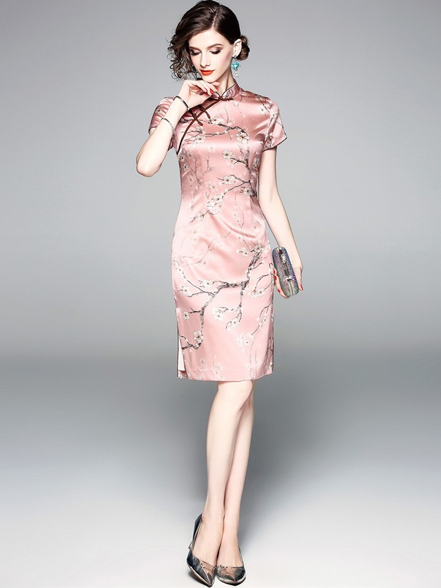Pink Floral Silk Qipao / Cheongsam Party Dress