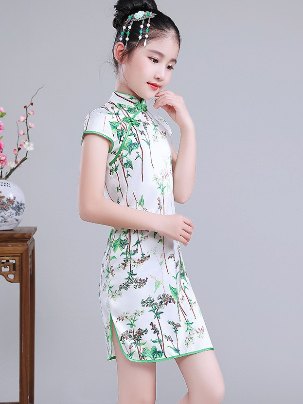 Kids Girl's Cheongsam / Qipao Dress in Green Floral Print