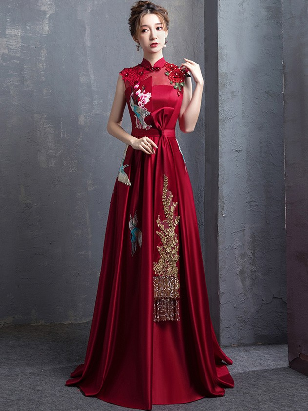 c6847998c42 Wine Red A-Line Floor Length Qipao   Cheongsam Wedding Dress with Embroidery.  Loading zoom