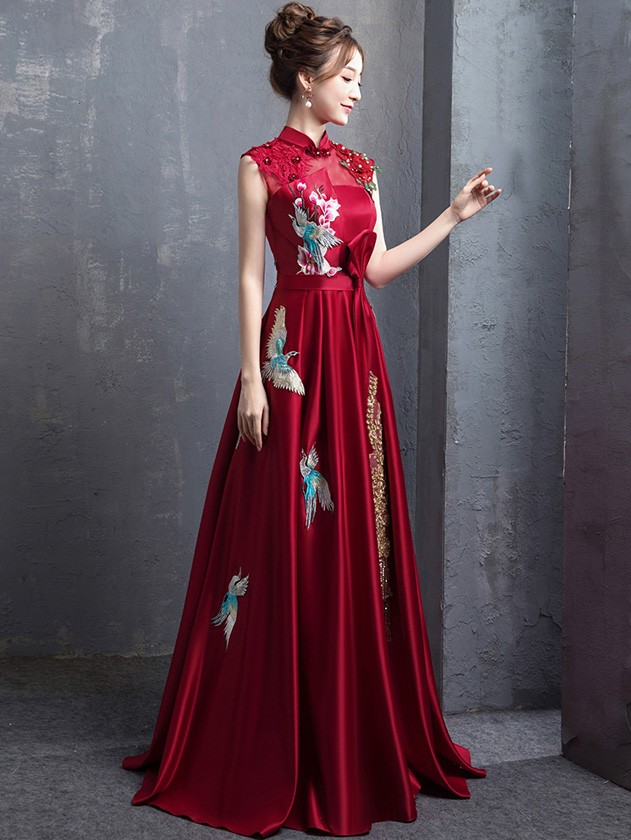 Red A-Line Floor Length Qipao / Cheongsam Wedding Dress with Embroidery