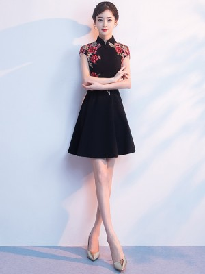 Black A-Line Embroidered Qipao / Cheongsam Evening Dress