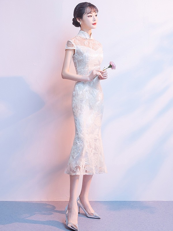 Champagne Midi Lace Qipao / Cheongsam Party Dress with Fishtail Hem