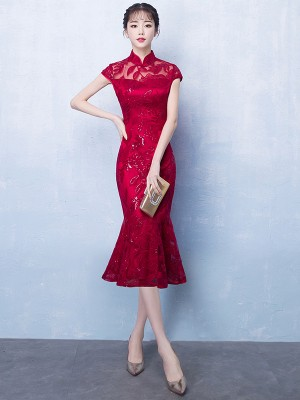 Wine Red Midi Qipao / Cheongsam Party Dress with Fishtail Hem