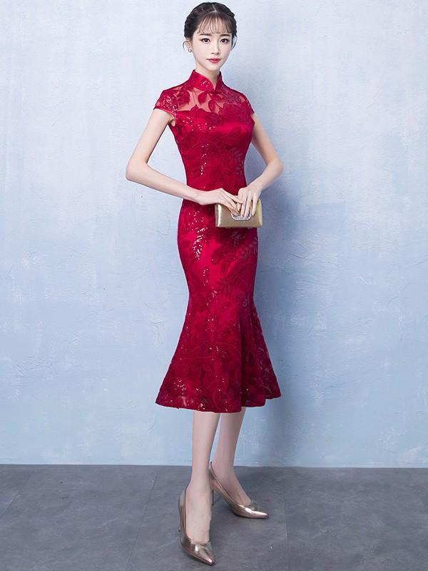 Wine Red Midi Qipao / Cheongsam Party Dress with Fishtail Hem