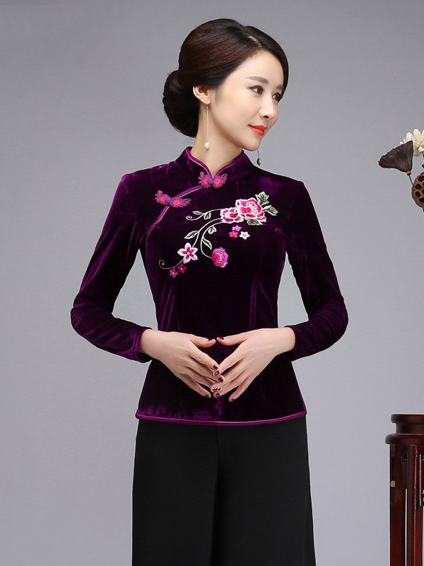 Embroidered Velour Qipao / Cheongsam Blouse Top