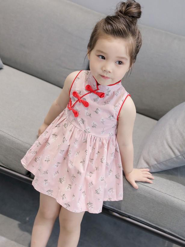 Floral Kids Girl's A-Line Cheongsam / Qipao Dress