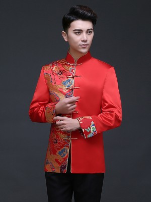 Red Traditional Chinese Men's Wedding Jacket with Woven Dragon