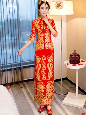 Summer Wedding Qun Kwa with Golden Sequined Phoenix