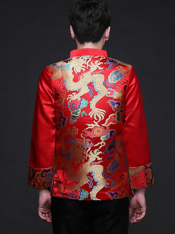 Traditional Chinese Men's Wedding Jacket with Multicolor Dragon