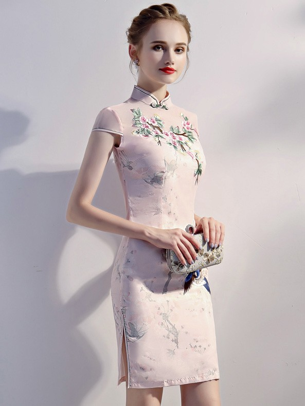 Pink Embroidered Short Chinese Qipao / Cheongsam Party Dress