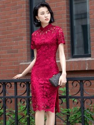Wine Red Lace Party Qipao / Cheongsam Evening Dress