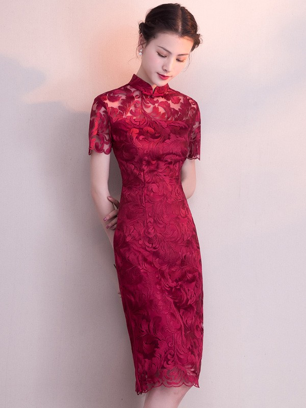 Wine Red Mid Lace Qipao / Cheongsam Party Dress