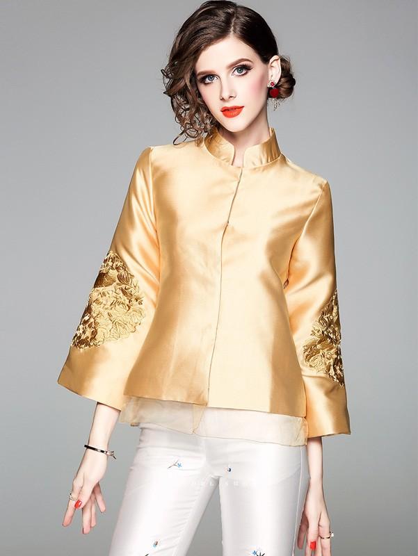 2018 Fall Golden Embroidered Women Qipao / Cheongsam Jacket