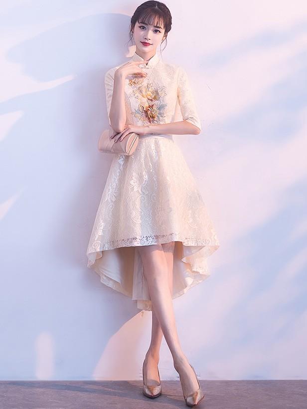 Beige Lace High Low Hem Qipao / Cheongsam Party Dress