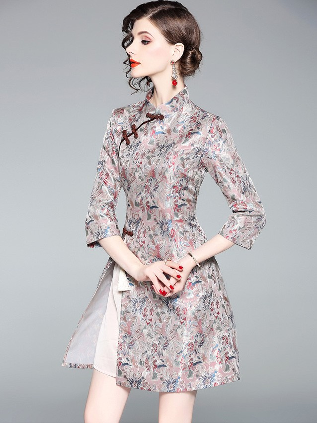 Pink Floral A-Line Qipao / Cheongsam Fall Dress