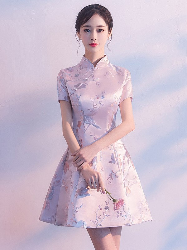 Pink A-Line Silver Woven Qipao / Cheongsam Party Dress