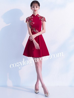 Wine Red A-Line Embroidered Qipao / Cheongsam Party Dress