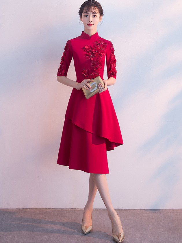 Wine Red Irregular Hem Appliques Qipao / Cheongsam Wedding Dress
